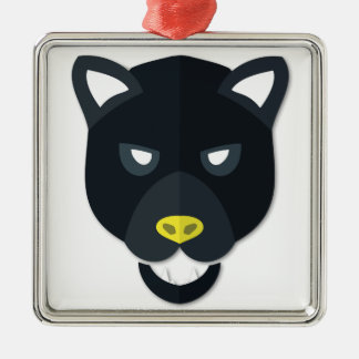 Cartoon Panther Head Metal Ornament
