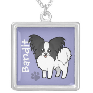 Cartoon Papillon (add your pets name) Custom Necklace
