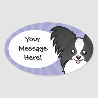 Cartoon Papillon Oval Sticker