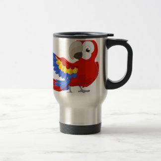 Cartoon Parrot Character Travel Mug