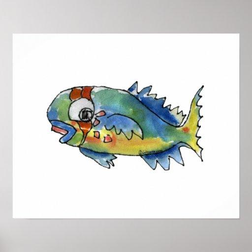 Cartoon Parrot Fish Children's Wall Art Poster