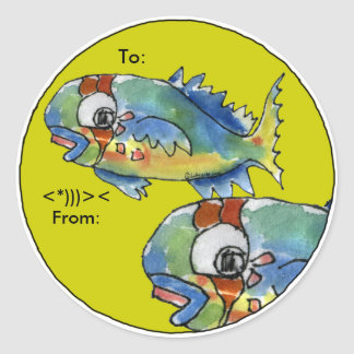 Cartoon Parrot Fish Personalized Labels Classic Round Sticker