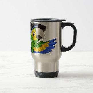 Cartoon Parrot in Pirate Hat Travel Mug