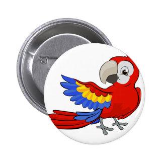 Cartoon Parrot Mascot Pinback Button