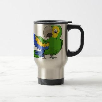 Cartoon Parrot Mascot Travel Mug