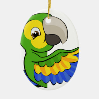 Cartoon Parrot Pointing Around Sign Ceramic Ornament