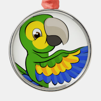 Cartoon Parrot Pointing Around Sign Metal Ornament