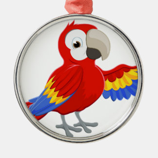 Cartoon Parrot Pointing Metal Ornament
