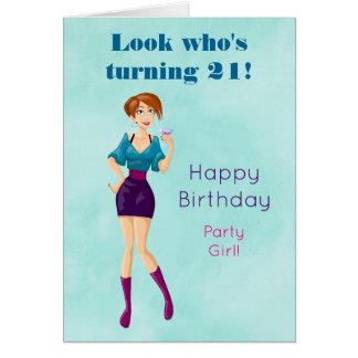 Cartoon Party Girl Holding Drink Happy Birthday Card