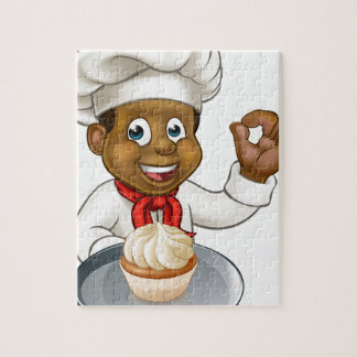 Cartoon Pastry Chef Baker With Fairy Cake Jigsaw Puzzle