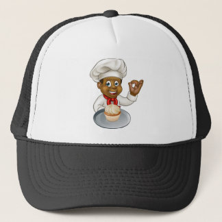 Cartoon Pastry Chef Baker With Fairy Cake Trucker Hat