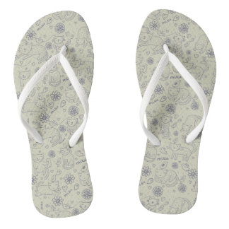 Cartoon pattern with funny cats flip flops