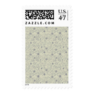 Cartoon pattern with funny cats postage