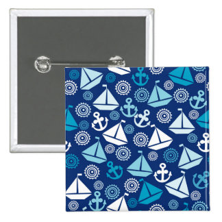 Cartoon Pattern With Sailboats Button