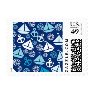 Cartoon Pattern With Sailboats Postage