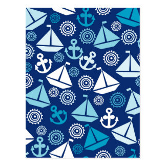 Cartoon Pattern With Sailboats Postcard