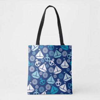 Cartoon Pattern With Sailboats Tote Bag