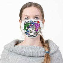 Cartoon Peace Love Old English Sheepdog  Face Mask