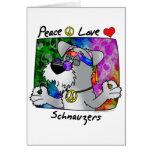 Cartoon Peace Love Schnauzer Greeting Card