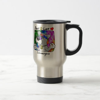 Cartoon Peace Love Schnauzer Coffee Mugs