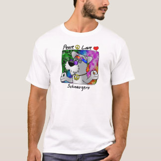 Cartoon Peace Love Schnauzer T-Shirt