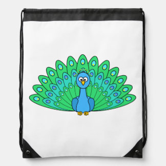 Cartoon Peacock Drawstring Backpack