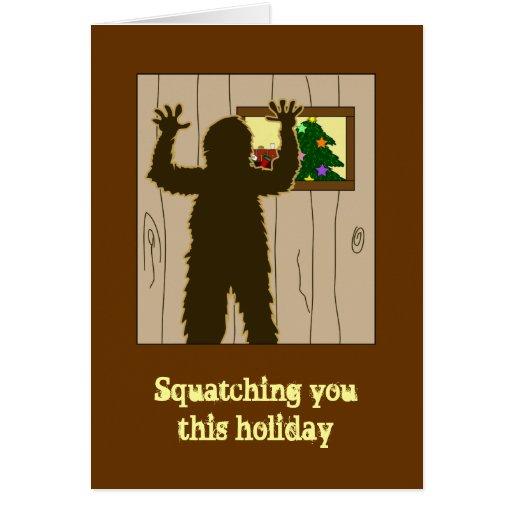 Cartoon Peeking in Window Sasquatch Christmas Card