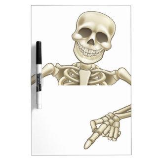 Cartoon Peeking Skeleton Sign Dry Erase Board