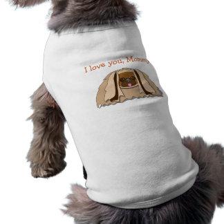 Cartoon Pekingese Dog Loves Mommy Dog Shirt