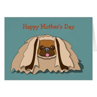 Cartoon Pekingese Dog Mother's Day Card Template