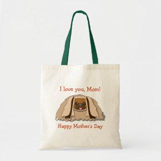 Cartoon Pekingese Dog Mother's Day Tote Bag