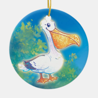Cartoon Pelican Ceramic Ornament