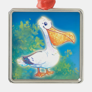 Cartoon Pelican Metal Ornament