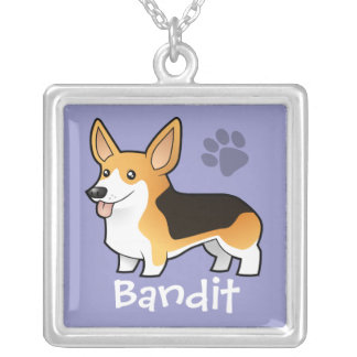 Cartoon Pembroke Welsh Corgi (add pets name) Silver Plated Necklace