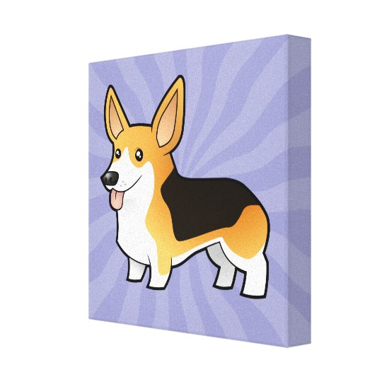 Cartoon Pembroke Welsh Corgi Canvas Print