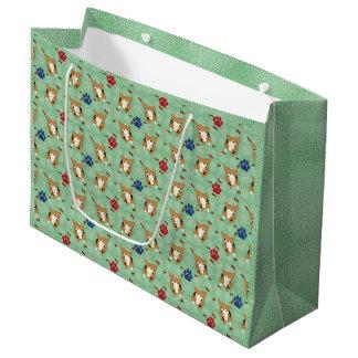 Cartoon Pembroke Welsh Corgi Large Gift Bag