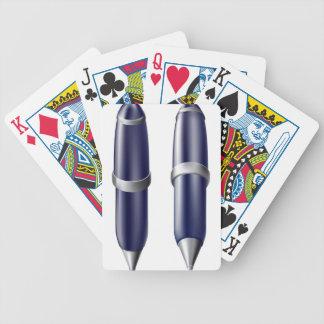 Cartoon pen icon poker cards