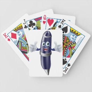 Cartoon pen mascot poker cards