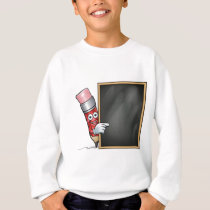 Cartoon Pencil and School Blackboard Sweatshirt