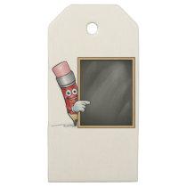 Cartoon Pencil and School Blackboard Wooden Gift Tags