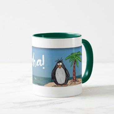 Beach Themed Cartoon Penguin Beach Aloha Mug
