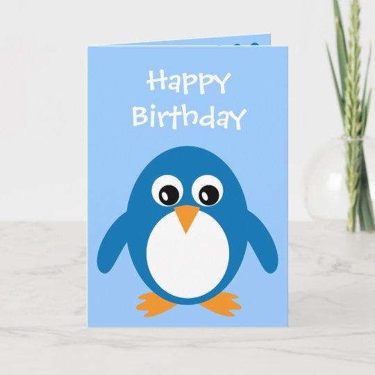 Cartoon Penguin Birthday Card Zazzle