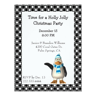 Cartoon Penguin Christmas Invitation