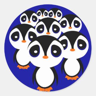 Cartoon Penguin Family Grouping Classic Round Sticker