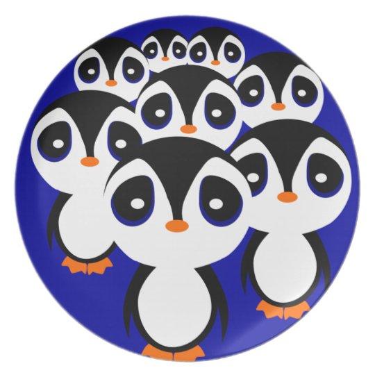 Cartoon Penguin Family Grouping Dinner Plate