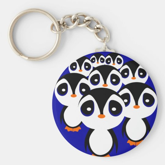 Cartoon Penguin Family Grouping Keychain