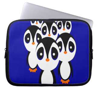 Cartoon Penguin Family Grouping Computer Sleeve