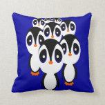 Cartoon Penguin Family Grouping Pillows