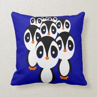 Cartoon Penguin Family Grouping Throw Pillow