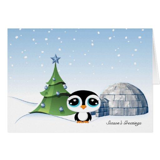 Customize it!: zazzle.com/cartoon_penguin_igloo_business_christmas_card...